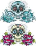 传染媒介有玫瑰的糖头骨。五颜六色和单色 免版税图库摄影