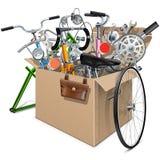传染媒介有自行车备用的纸盒箱子 免版税库存图片