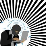 传染媒介-有计算机佩带的巴拉克拉法帽的黑客 库存图片