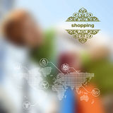 传染媒介机动性和网接口与购物 库存例证