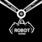 传染媒介机器人胳膊标志 机器人手和蝴蝶 库存照片