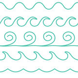 传染媒介绿松石线波浪在白色背景设置了 库存例证