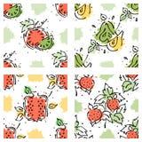 传染媒介结果实无缝的样式 西瓜,梨,草莓,与叶子,污点,下落的石榴,飞溅手拉的等高林 免版税库存照片