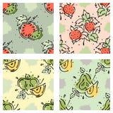 传染媒介结果实无缝的样式 西瓜,草莓,莓果,苹果,与叶子,污点,下落的梨飞溅手拉的等高林 免版税库存照片