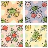 传染媒介结果实无缝的样式 樱桃,草莓,莓果,苹果,梨,与叶子,污点,下落,飞溅手拉的等高线 免版税库存照片
