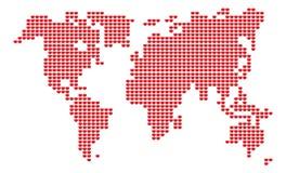 传染媒介标志红色心脏世界map= 库存图片