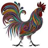 传染媒介样式的色的公鸡 库存照片