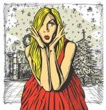 传染媒介桃红色礼服的惊奇的金发碧眼的女人 免版税库存照片