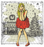 传染媒介桃红色礼服的惊奇的金发碧眼的女人 库存图片