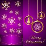 传染媒介桃红色紫罗兰色圣诞节邀请卡片 库存照片