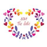 传染媒介框架与花的水彩心脏 日期保存 免版税库存图片