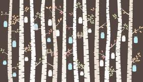 传染媒介桦树或亚斯本树与垂悬的金属螺盖玻璃瓶和爱鸟 库存照片