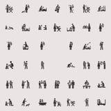 传染媒介棍子形象孩子和家庭 免版税库存图片