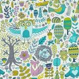 传染媒介森林设计,与森林动物的花卉无缝的样式:青蛙,狐狸,猫头鹰,兔子,猬 向量背景 库存照片