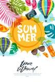 传染媒介横幅、海报或者飞行物与太阳、棕榈叶和气球的设计模板 夏天海滩乱画例证 免版税库存照片