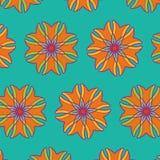 传染媒介橙色花纹花样设计 免版税库存照片
