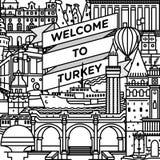 传染媒介欢迎到土耳其旅行海报 免版税库存图片