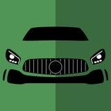 传染媒介正面图绿色汽车 免版税库存照片