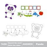 传染媒介比赛 发现暗藏的词熊猫 搜寻词 免版税库存照片