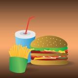 传染媒介汉堡包、油炸物和饮料eps10 免版税库存图片