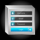 传染媒介注册接口-用户名和密码 免版税库存图片