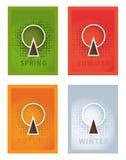 传染媒介海报。四年的季节。季节性海报与传统化 库存照片