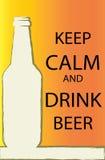 传染媒介-海报保留安静并且喝啤酒 免版税图库摄影
