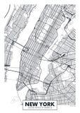 传染媒介海报地图城市纽约 免版税库存图片