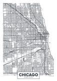 传染媒介海报地图城市芝加哥 免版税库存照片
