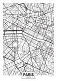 传染媒介海报地图城市巴黎 图库摄影
