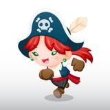传染媒介海盗女孩例证 免版税库存图片