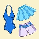 传染媒介海滩被设置的夏天衣裳 库存图片