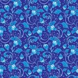 传染媒介深蓝土耳其花卉无缝的样式 免版税库存照片