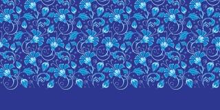 传染媒介深蓝土耳其花卉水平的边界 免版税图库摄影