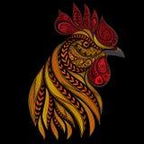 传染媒介火热的雄鸡在新年的 免版税库存照片