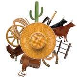 传染媒介牛仔与草帽的大农场概念 库存图片
