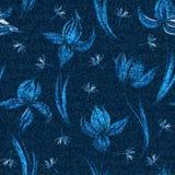 传染媒介牛仔布花卉无缝的样式 与番红花花的退色的牛仔裤背景 背景蓝色布料牛仔裤 皇族释放例证