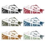 传染媒介狩猎和渔被设置的葡萄酒象征 库存照片