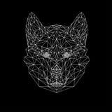 传染媒介狼稀薄的线型 低狼多设计例证 抽象哺乳动物的动物 狗打印的面孔剪影 免版税库存图片