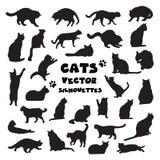 传染媒介猫剪影的汇集 免版税库存照片