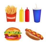 传染媒介现实快餐集合 汉堡,饮料,咖啡,炸薯条,热狗,番茄酱,芥末 背景查出的白色 免版税库存照片