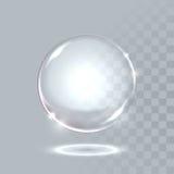 传染媒介现实球形水晶泡影下落 免版税图库摄影
