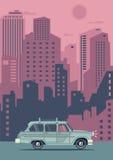 传染媒介现代减速火箭的桃红色汽车 旅游业平的设计 免版税库存照片