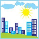 传染媒介现代城市概念的彩色插图 库存照片