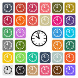 传染媒介现代时钟平的设计象在按钮设置了 库存例证
