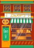 传染媒介现代面包店商店详细的门面 图库摄影