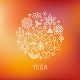 传染媒介瑜伽商标 免版税库存图片