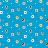 传染媒介甜油炸圈饼无缝的样式 酥皮点心 免版税库存照片