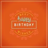 传染媒介生日快乐贺卡设计 免版税图库摄影