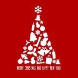 传染媒介由各种各样的形状做的圣诞树 库存图片